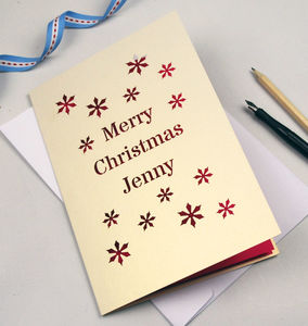 Set Of Six Personalised Papercut Christmas Cards - cards