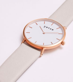 Grey And Rose Gold Vegan Leather Watch