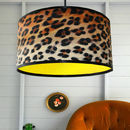 Leopard Print Lampshade With Neon Linings And Fringing