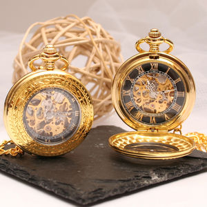 Engraved Gold Skeleton Pocket Watch With Windowed Lid - watches