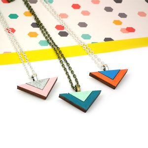 Wooden Triangle Geometric Necklace