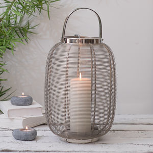 Silver Hurricane Lantern Indoor And Outdoor - christmas lighting
