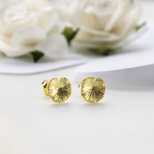 Gold Plated Sterling Silver Lily Pad Earrings