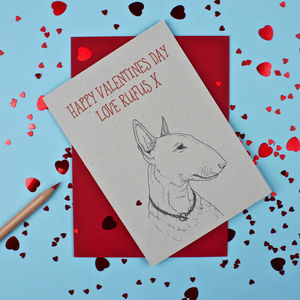 Bull Terrier Valentines Day Card - personalised
