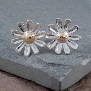 Sterling Silver And 9ct Gold Daisy Earrings - wedding jewellery