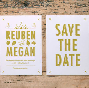 Woodlands Summer Camp Wedding Save The Date Cards - invitations