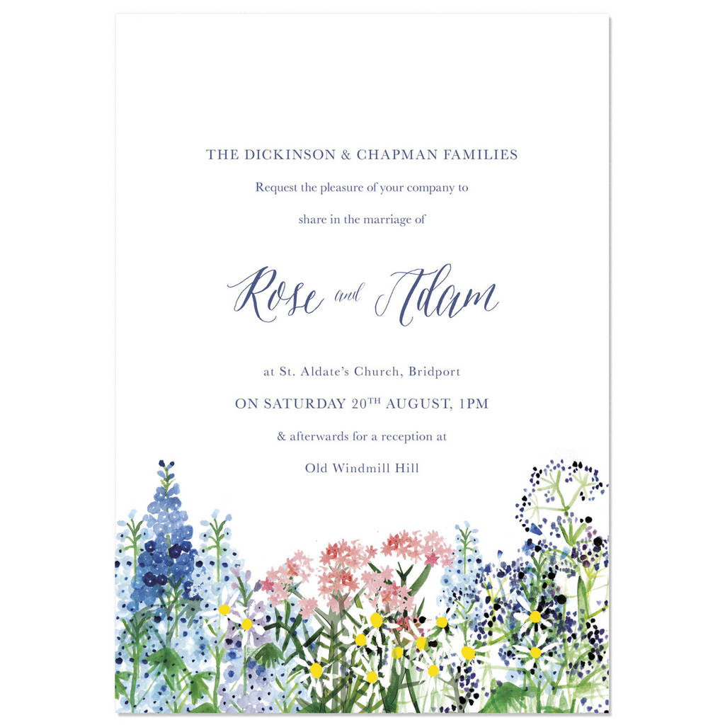 Calligraphy And Flowers Wedding Invite Sample By Hollyhock Lane