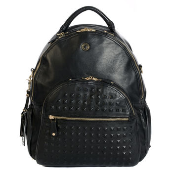 Personalised Joy Studded Leather Baby Changing Backpack