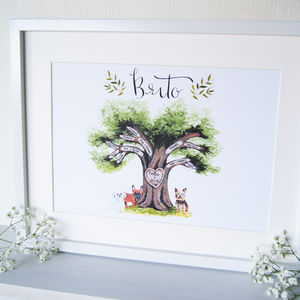 Personalised Illustrated Family Tree Art Print - family & home