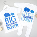 Personalised Big Brother Little Brother Elephant Set