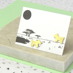 Silver Or Gold Dog Earrings On An Illustrated Card - new in jewellery
