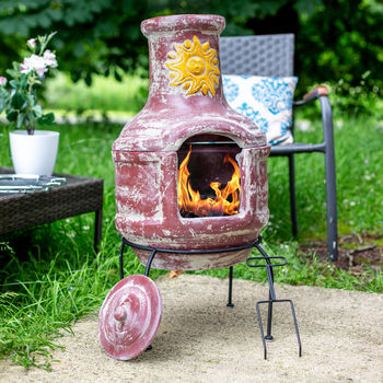 Clay Chiminea With Grill And Pizza Stone