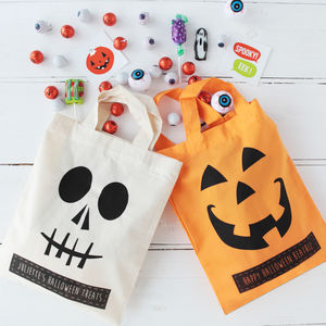 Halloween Personalised Trick Or Treat Bags - ribbon & wrap