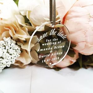 Save The Date Hanging Perspex Tag - personalised