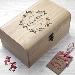 Personalised Christmas Eve Chest With Mistletoe Wreath - christmas eve boxes