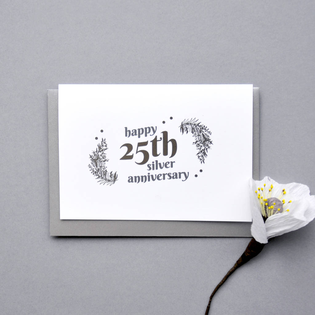 Australian Wedding Anniversary Gifts By Year: 25th Silver Wedding Anniversary Silver Foil Card By Ant