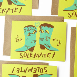 Be My Solemate Screen Printed Card - valentine's cards