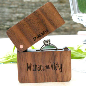 Personalised Walnut And Copper Wooden Engraved Ring Box