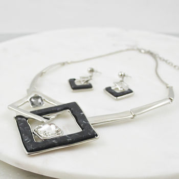 Crystal Statement Square Necklace And Earring Set