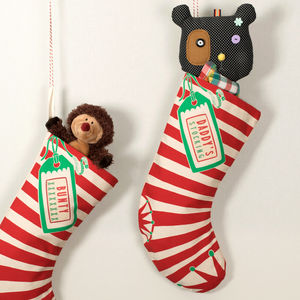 Personalised Happy Stripes Christmas Stocking - ribbon & wrap