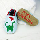 Personalised Christmas Dinosaur Baby Shoes