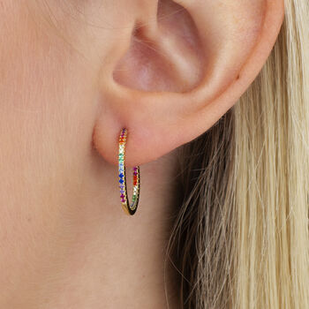18ct Gold Rainbow Crystal In And Out Hoop Earrings