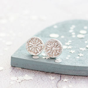 Dainty Silver Snowflake Earrings - earrings