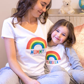 Personalised Rainbow Mummy And Me Pyjamas
