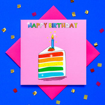 Glitter Slice Of Rainbow Cake Birthday Card