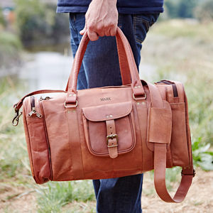 Large Personalised Leather Holdall Zipped Pockets - gifts for him