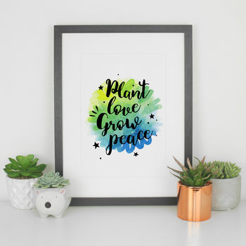 Typography Art Print Inspirational Quote Plant Love