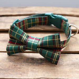 Festive Tartan Dog Bow Tie - pet collars