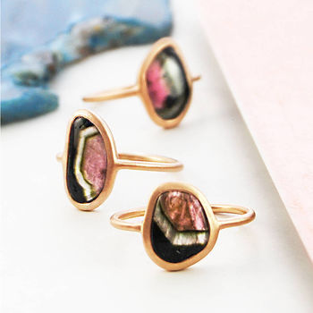 Large Rare Watermelon Tourmaline Rose Gold Ring