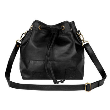 Personalised Black Leather Bucket Bag Handbag