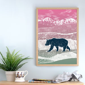 Bear In Nature, Landscape Art Print