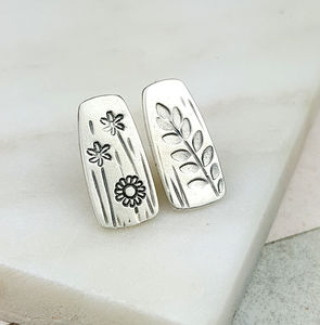 Mismatched Stamped Silver Studs