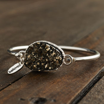 Silver And Olive Druzy Hook Bangle
