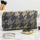 Metallic Dogtooth Makeup Bag In Pewter Grey