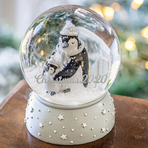 Personalised Mummy And Child Penguin Snowglobe