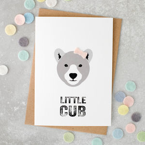 Little Cub New Baby Girl Card With Felt Bow