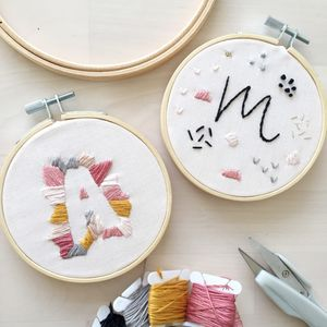 Personalised Initial Embroidery Hoop