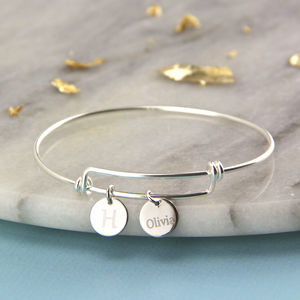 Personalised Sterling Silver Expandable Bangle