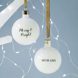 Personalised Message Bone China Bauble