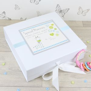 New Baby Personalised Buttons Keepsake Box - keepsake boxes