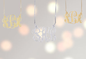 Sterling Silver Personalised Monogram Initial Necklace - gold