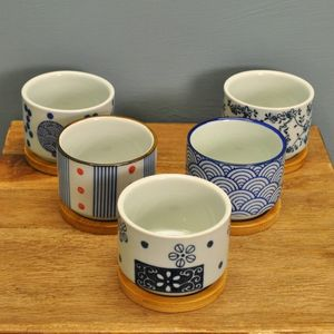 Set Of Five Ceramic Round Succulent Pots