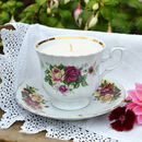 Red And Yellow Floral China Vintage Teacup Candle