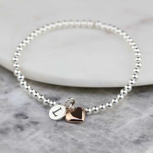 Personalised Skinny Missy Bracelet With Heart Charm - bracelets & bangles