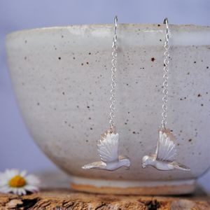 Sterling Silver Bird Earrings - earrings