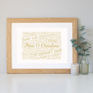 Personalised 50th Anniversary Word Art Gift